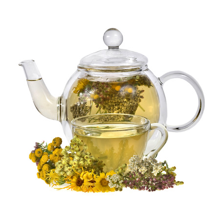 herbal tea with aroma fresh herb isolated on white background photo