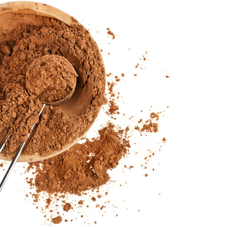 rich flavor: cocoa powder isolated on white background