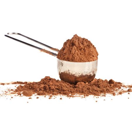 cocoa powder isolated on white background photo