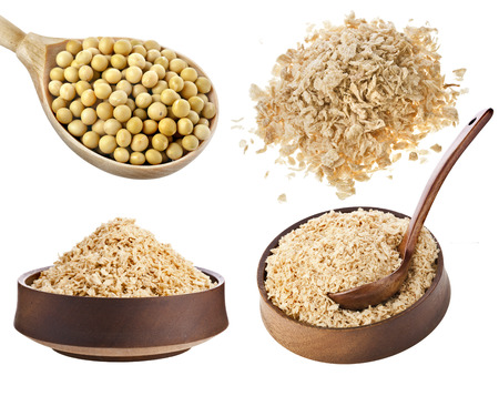substitution: Collection set of soy beans , flakes, meat alternative food isolated on white