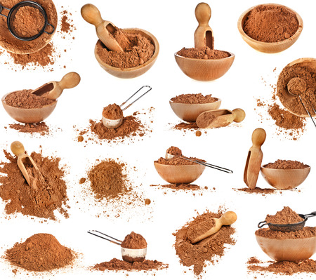 Collection set of cocoa powder isolated on white background
