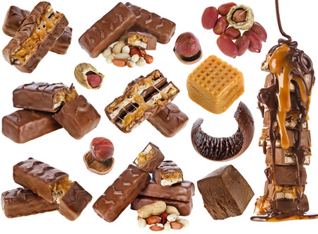 chunk: Collection set of Chocolate bar with caramel and nuts, close up, isolated on white background