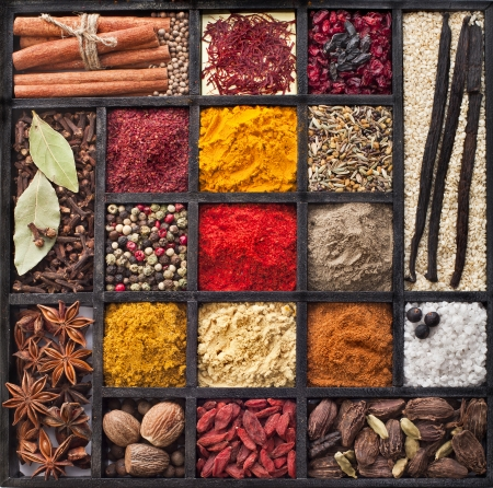 Assortment of powder spices on spoons in wooden box background photo