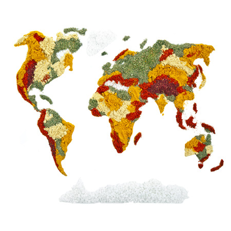 World Map of spices and herbs photo