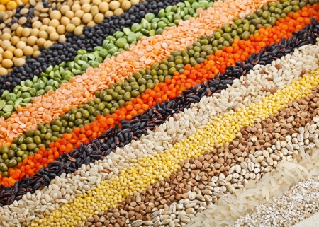colorful striped rows of dry lentils, soya beans, grain , peas, groats , buckwheat, soybeans, legumes, rice, backdrop Stockfoto