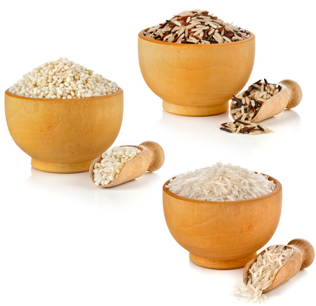 wild rice: Assortment set of rice in wooden dish and scoop isolated on white background