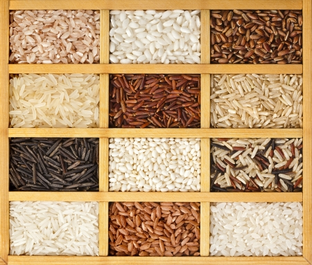 drawers: Assortment of rice in wooden box surface top view