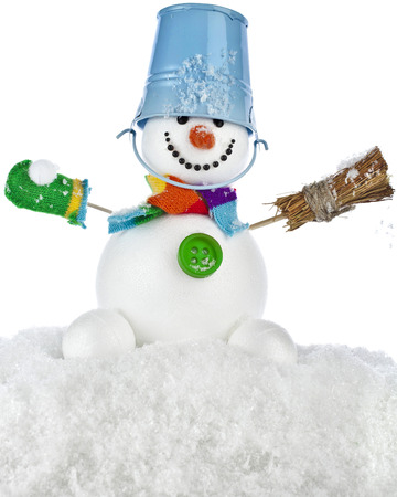 Cheerful snowman with red color bucket on his head and broom in hand isolated on white background photo