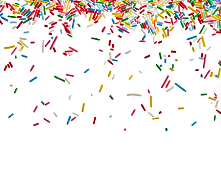 sprinkle: Border frame of colorful sprinkles isolated  Stock Photo