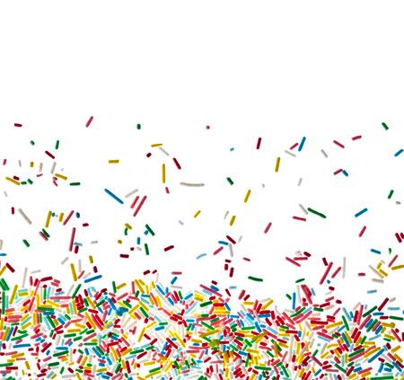 Rahmen von bunten Süßigkeiten Sprinkles isoliert auf weiß