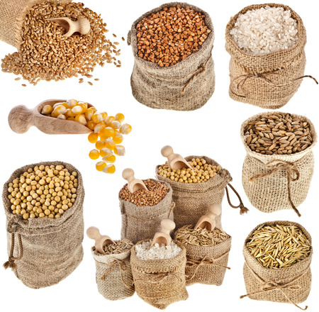 gunny bag: Collection set of kinds of cereal in small burlap bags isolated on white background Stock Photo