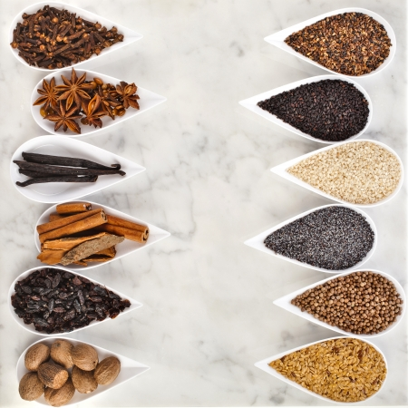 wholegrain mustard: Border frame of different spice seed in white porcelain dishes over marble background Stock Photo