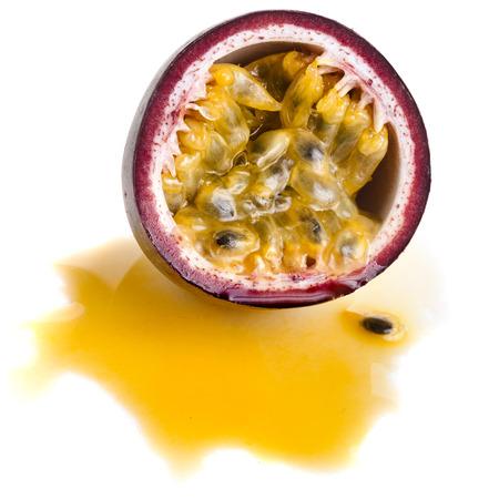 grenadilla: One Passion fruit close up macro shot , isolated on a white background