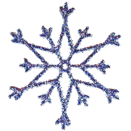 Ornamental Snowflake shape glittering decoration with clipping path included photo