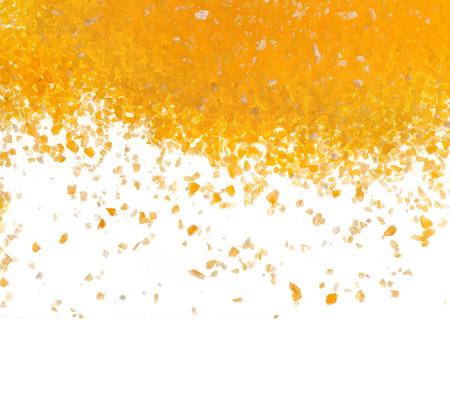 maize flour: heap border of cornmeal maize flour surface isolated on white