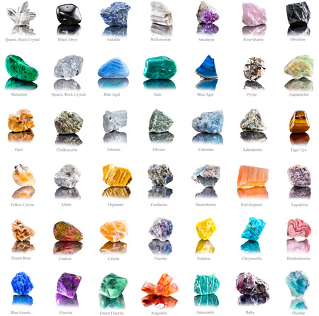 Collection set of semi-precious gemstones stones and minerals with names isolated on white background photo