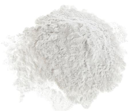Mucchio di strach polvere superficie vista superiore close up isolato su sfondo bianco