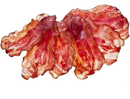 bacon fat: Bacon Fried Slices surface top view isolated On White Background Stock Photo