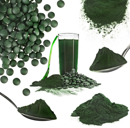 Spirulina algae powder glass drink nutritional supplement close up collage , isolated on white background