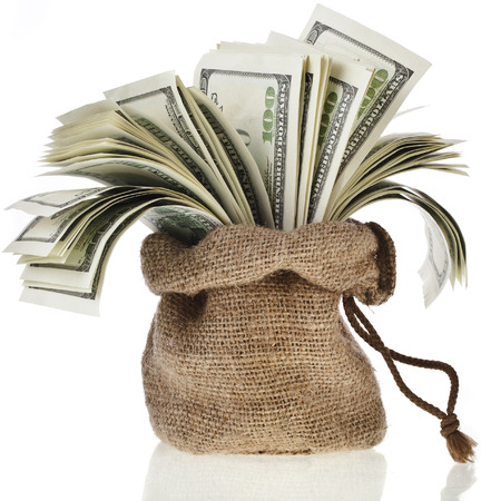 Money in the bag isolated on a white background photo