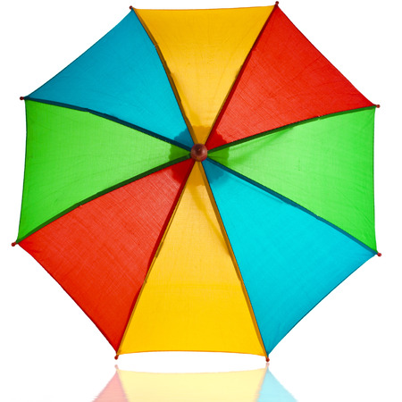 colored striped umbrella isolated on a white background