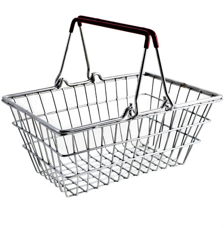 Wire shopping basket isolated on a white background Stockfoto