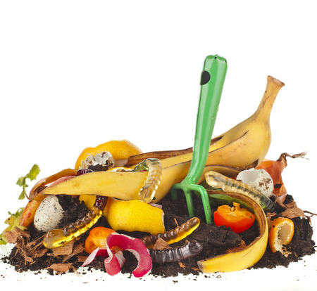 hayfork: compost pile of kitchen scraps isolated on white background