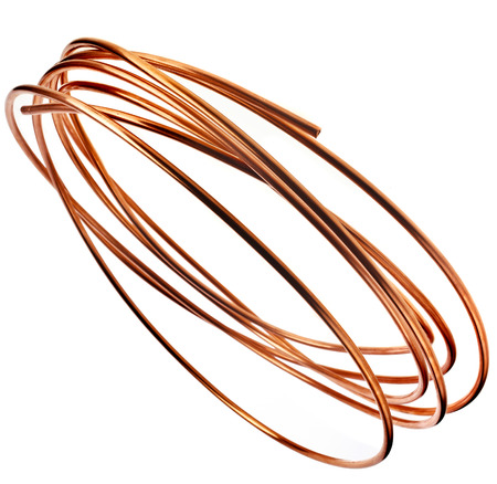 cuprite: copper wire pipes isolated on white background Stock Photo