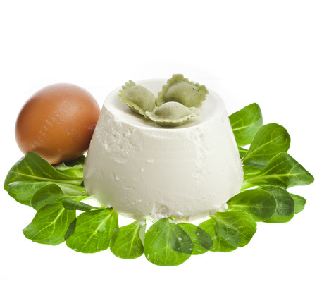 Ricotta Cheese with spinach isolated on white background photo