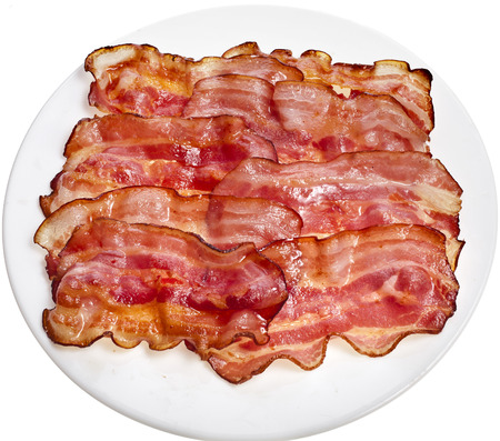 bacon fat: Bacon Fried Slices in Plate top view surface isolated On White Background Stock Photo