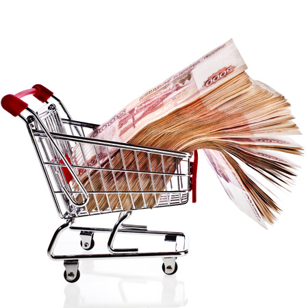 ruble: One Million Banknotes Rubles of the Russian Federation in Shopping basket cart - isolated on white background