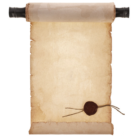 scroll ancient antique paper with a wax seal surface close up isolated on a white background Banque d'images