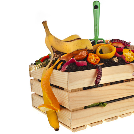 hayfork: compost wooden crate box full kitchen scraps isolated on white background Stock Photo