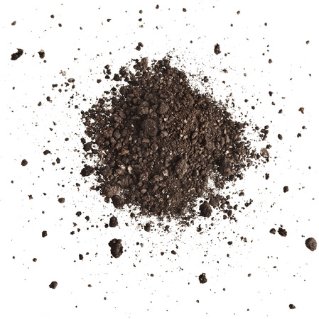 placer: Pile of composition of the iron powder and vermiculite Isolated on White Background