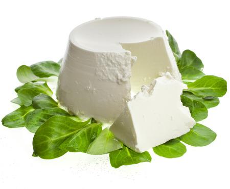 Ricotta-Käse mit Spinat isoliert auf weißem Hintergrund Lizenzfreie Bilder