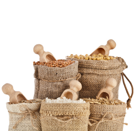 Corn kernel seed meal and grains in bags with wooden scoop isolated on a white background Stock fotó