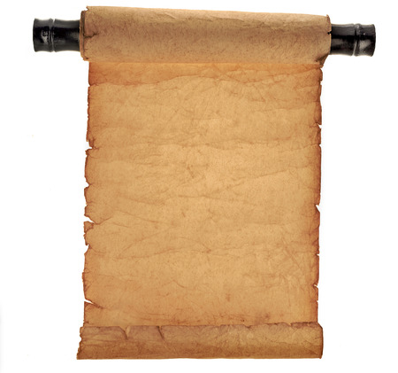 Antique scroll paper isolated on white background 版權商用圖片