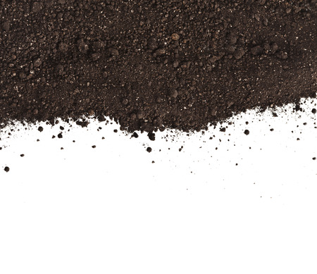 Pile of composition of the iron powder and vermiculite Isolated on White Background