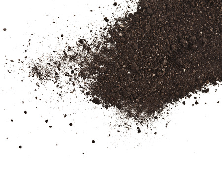 dirt: Pile of composition of the iron powder and vermiculite Isolated on White Background
