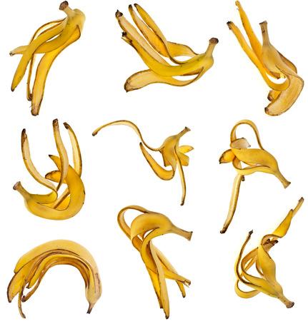 Bananas Skin Set isolated on white background photo