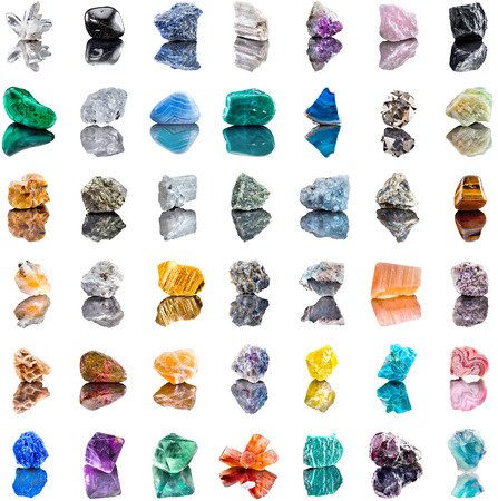 Collection set of semi-precious gemstones stones and minerals isolated on white background Stock Photo