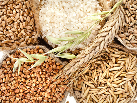 groats seed meal and grains in bags close up top view surface background Stockfoto
