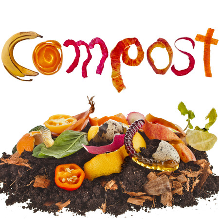 composting: compost pile soil of kitchen scraps close up isolated on white background Stock Photo