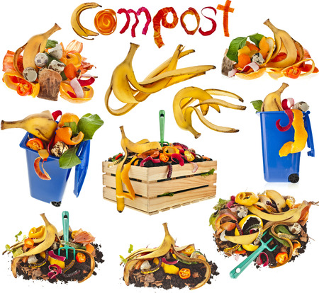 Sammlung von Kompost-Haufen Erde mit Küchenabfälle close up isoliert auf weißem Hintergrund