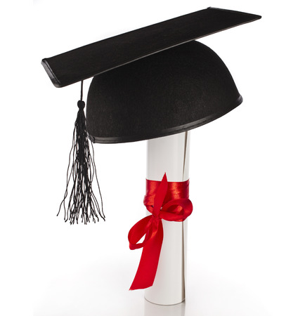 Black Graduation Cap with Degree Isolated on White Background photo