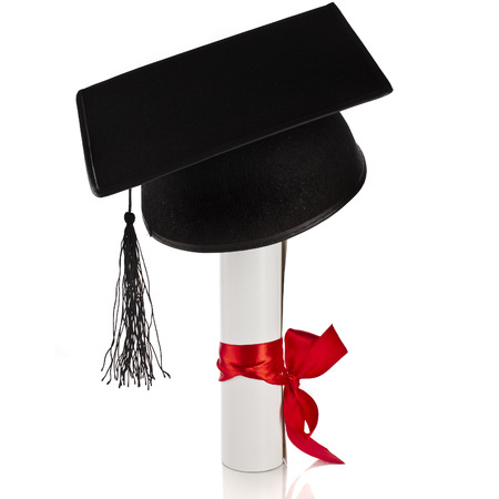 commencement: Black Graduation Cap with Degree Isolated on White Background