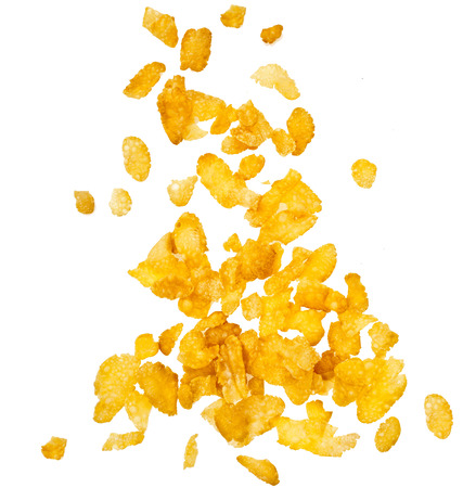 corn flakes: corn flakes falling in to bowl isolated on the white