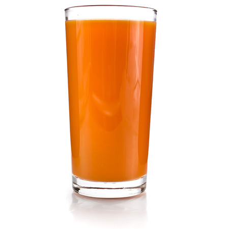 buckthorn: glass of carrot juice and fresh carrots grated isolated on white