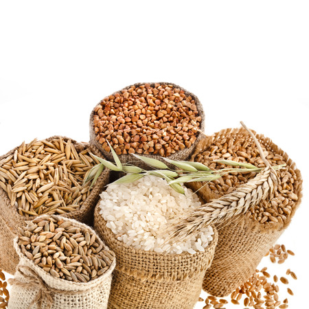 rice grain: Collection set of seed meal and grains in bags isolated on a white background Stock Photo