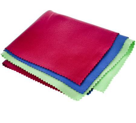 velours: set of colorful cleaning cloth for optics isolated on white background Stock Photo